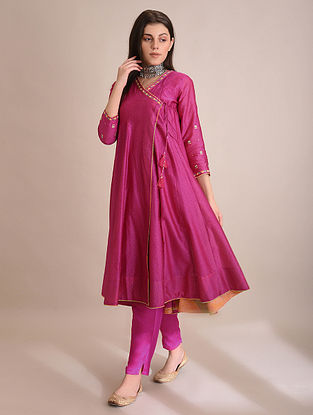 NUWWAR - Pink Block Printed Silk Cotton Angrakha with Embroidery