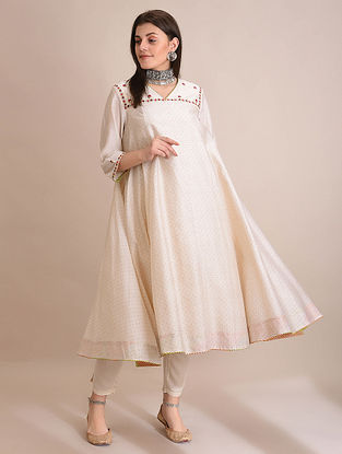 TANISH - Ivory Block Printed Silk Cotton Flared Kurta with Embroidery and Slip