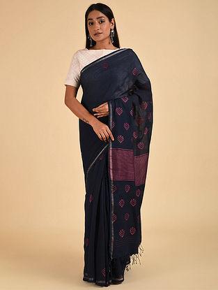 Blue-Purple Handwoven Jamdani Muslin Saree