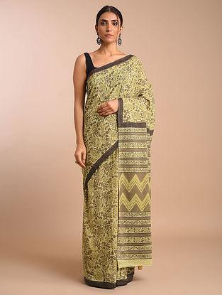 Yellow-Brown Dabu Ajrakh Printed Cotton Mul Saree