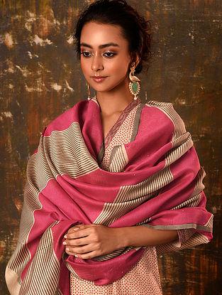 Beige-Pink Block Printed Silk Cotton Dupatta with Sequin