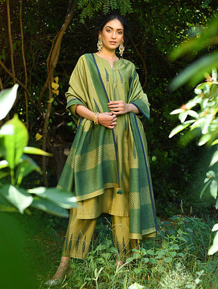 Green Block Printed Silk Cotton Dupatta with Sequin