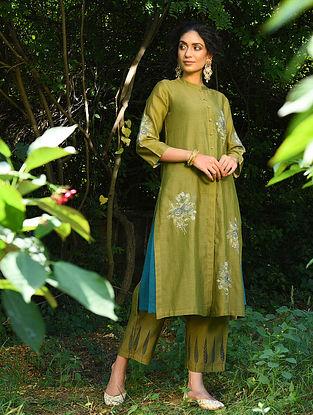 HAMIDA BANU BEGUM - Green Embroidered Silk Cotton Kurta