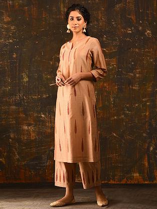 GUL-E-WAFA - Peach Block Printed Silk Cotton Kurta with Sequin
