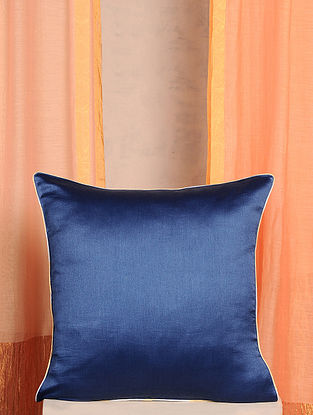 Blue Handwoven Cotton Chanderi Cushion Cover (16in x 16in)