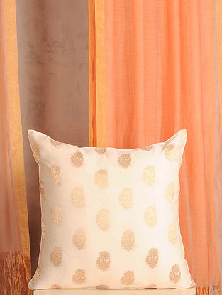 White and Gold Handwoven Cotton Chanderi Cushion Cover (16in x 16in)