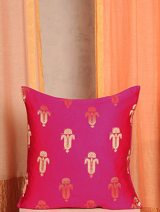 Pink and Gold Handwoven Cotton Chanderi Cushion Cover (16in x 16in)