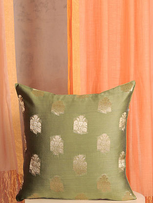 Olive Green Handwoven Cotton Chanderi Cushion Cover (16in x 16in)