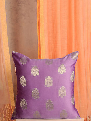 Lavender Handwoven Cotton Chanderi Cushion Cover (16in x 16in)