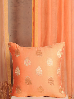 Peach Handwoven Cotton Chanderi Cushion Cover (16in x 16in)