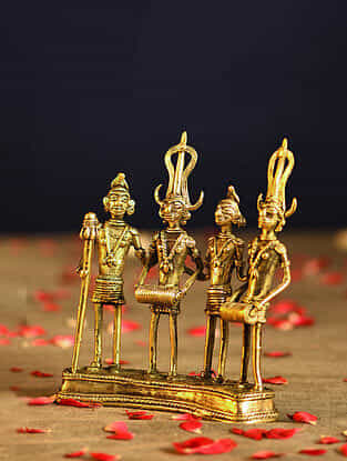 Tribals Handcrafted Antique Gold Dhokra Tabletop Accent (L - 1.3in, W - 5.7in, H - 6.5in)
