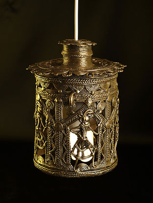 Handcrafted Antique Gold Dhokra Tabletop Lantern (L-5.5in, W-5.5in, H - 7.5in)