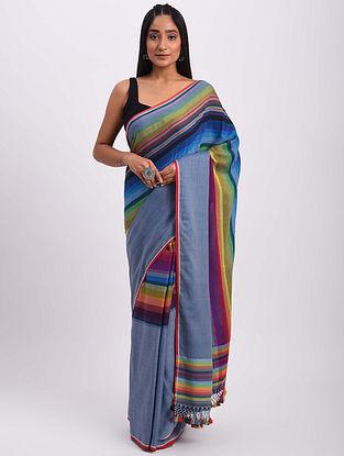 Multicolored Handwoven Bhujodi Cotton Saree