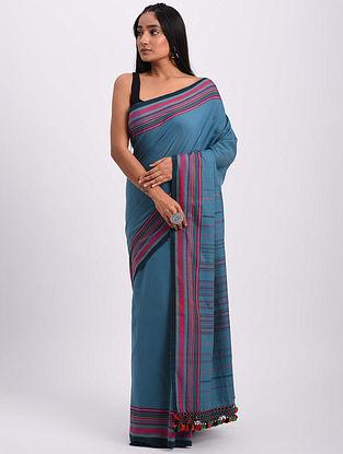 Blue-Red Handwoven Bhujodi Cotton Saree
