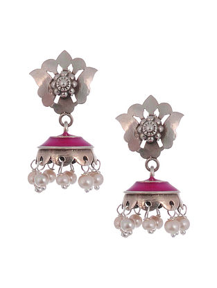 Pink Enameled Silver Jhumki Earrings