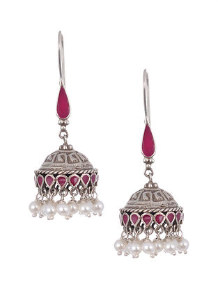 Pink Enameled Silver Earrings with Pearls