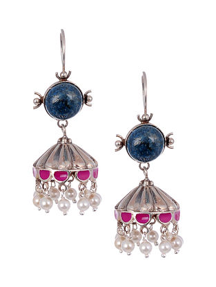 Pink Blue Enameled Silver Earrings