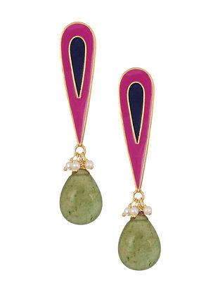 Blue Pink Enameled Silver Earrings