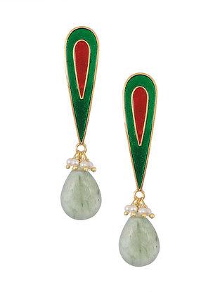 Red Green Enameled Silver Earrings