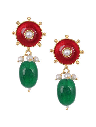 Green Red Enameled Gold Tone Silver Earrings with Pearls