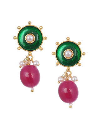 Green Pink Enameled Gold Tone Silver Earrings with Pearls