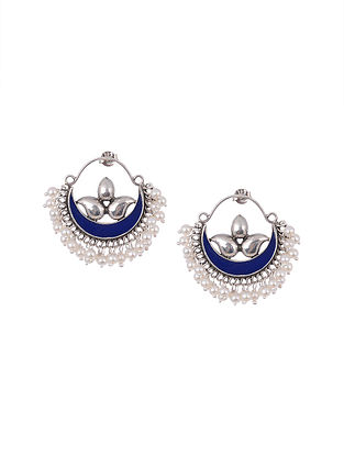 Blue Enameled Silver Earrings with Pearls