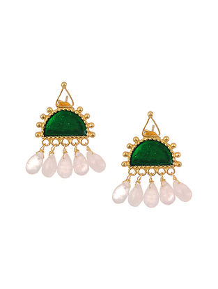 Green Enameled Gold Tone Silver Earrings with Pearls