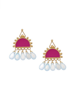 Pink Aqua Enameled Gold Tone Silver Earrings with Pearls