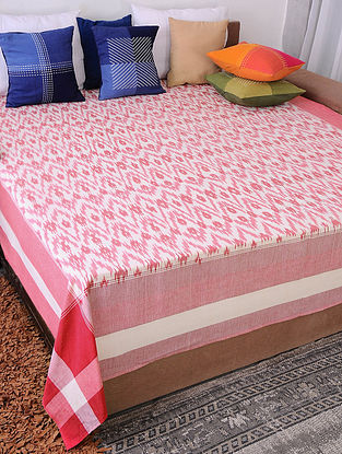Red Handloom Ikat Cotton Double Bedcover (90in x 108in)