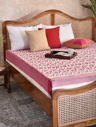 Red Handloom Ikat Cotton Double Bedcover (90in x 108in)