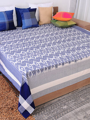 Grey and Blue Handloom Ikat Cotton Double Bedcover (90in x 108in)