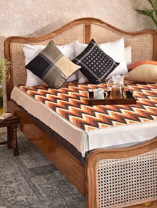 Multicolor Handloom Ikat Cotton Double Bedcover (90in x 108in)