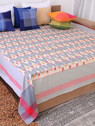 Multicolor Handloom Ikat Cotton Double Bedcover (90in x 108in)