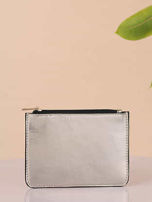 Silver Handcrafted Genuine Leather Coin Purse