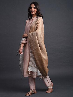 Brown-Grey Handwoven Linen Dupatta