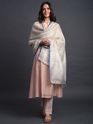 Grey Handwoven Linen Dupatta