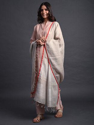 Ivory-Red Handwoven Linen Dupatta