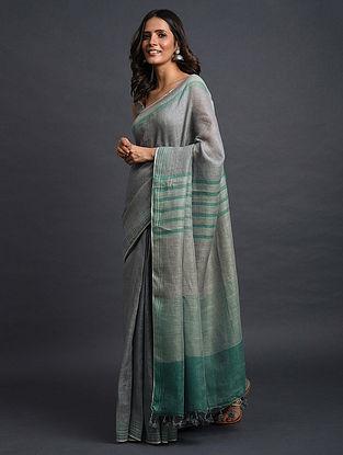 Grey-Green Handwoven Linen Saree