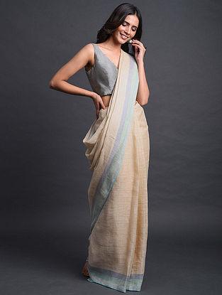 Beige-Grey Handwoven Linen Saree