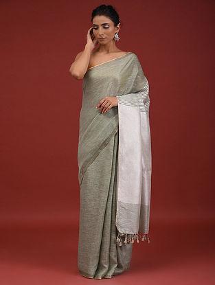 Grey Handwoven Linen Saree