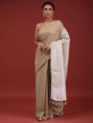 Beige-Ivory Handwoven Linen Saree