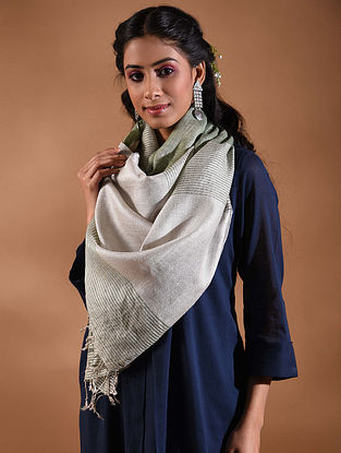 Ivory-Grey Handwoven Linen Stole