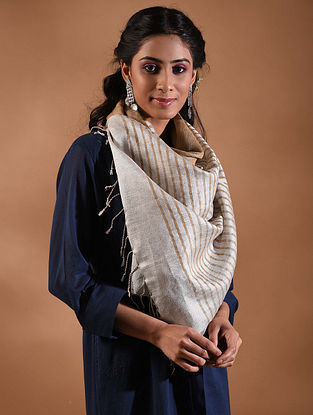 Ivory-Brown Handwoven Linen Stole