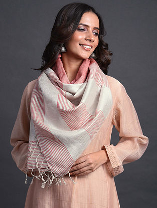 Ivory-Pink Handwoven Linen Stole