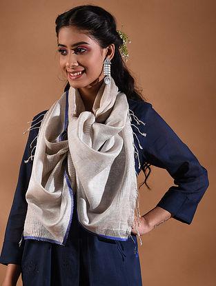 Ivory-Blue Handwoven Linen Stole