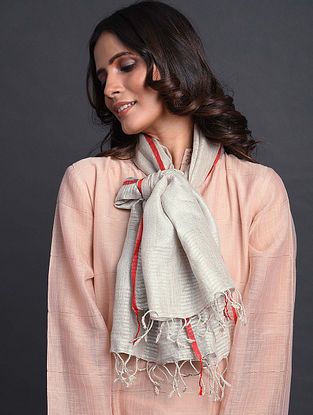 Ivory-Red Handwoven Linen Stole
