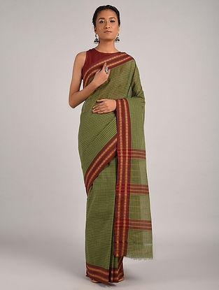 Green-Maroon Handwoven Narayanpet Cotton Saree