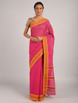 Pink Handwoven Narayanpet Cotton Saree