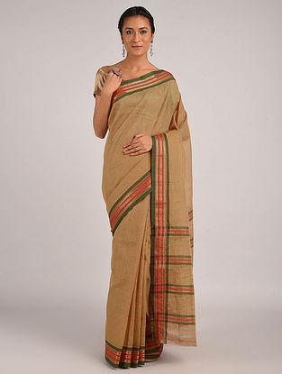 Beige Handwoven Narayanpet Cotton Saree