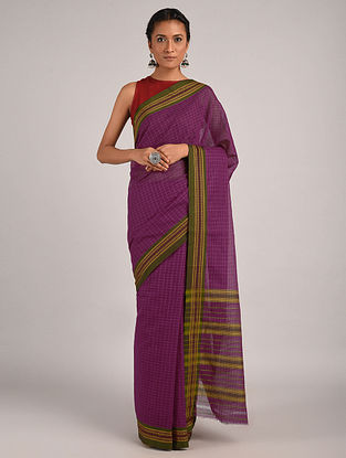 Purple-Green Handwoven Narayanpet Cotton Saree